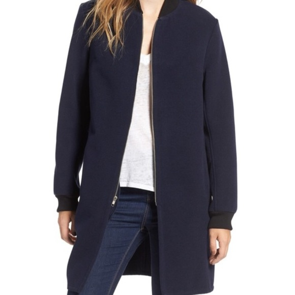 Wayf Jackets & Blazers - WAYF Elongated Bomber Jacket navy blue
